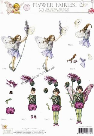 Flower Fairy 7 Lavender & Greater Knapweed Flower Fairy by Cicely Mary Barker 3d Decoupage Sheet